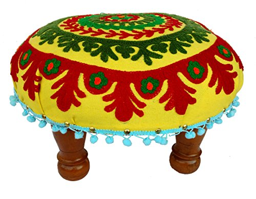 Living Room Furniture/ Stool Cloth Embroidery Upholstered Wooden Stool - Assembly Required , Padded Foot Stools (Yellow) by Rastogi Handicrafts
