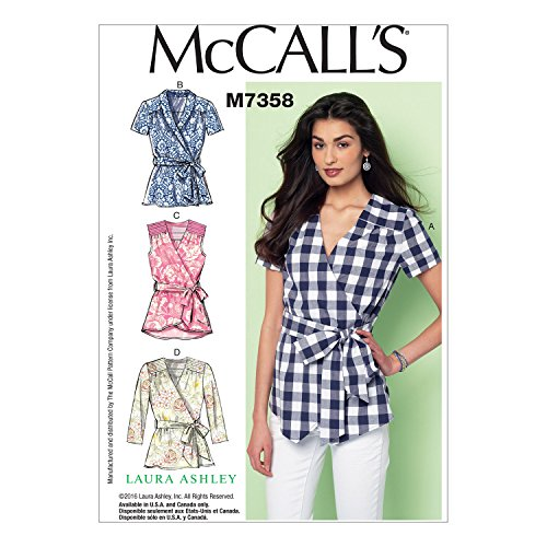 McCall's Patterns M7358 Misses' Gathered and Yoked Tops and Belt, Size E5 (14-16-18-20-22)