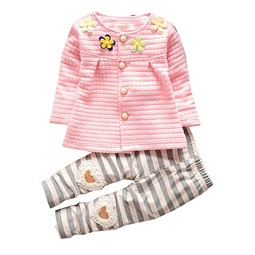 FTSUCQ Girls Floral Jacket Coat Top + Striped Pants,Pink 100