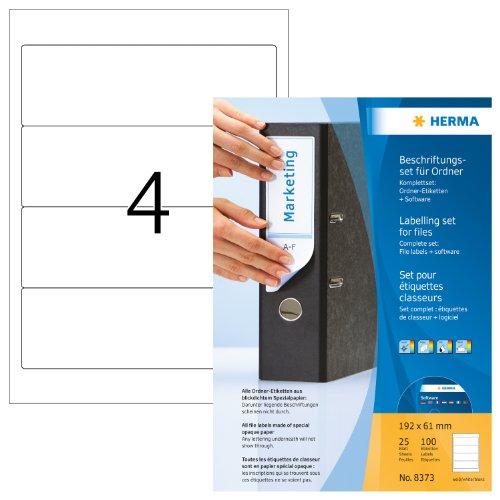 Herma 8373 Ordner-Beschriftungsset (Ordneretiketten A4 Software) 25 Blatt weiß