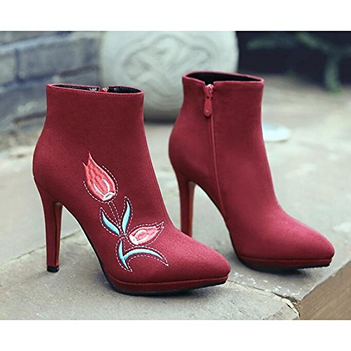 Ankle Booties Shoes Fashion HSXZ Boots Walking Toe Boots Comfort Women's Shoes Pointed Stiletto Heel Winter Boots ZHZNVX leather Fall Nubuck Red FqTpwfU