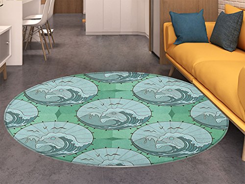 Gull Circle - Nature Round Area Rug Wave Mountain and Seagulls Nature Scenery in Circle Chinese Umbrella Pattern Art Indoor/Outdoor Round Area Rug Green Blue
