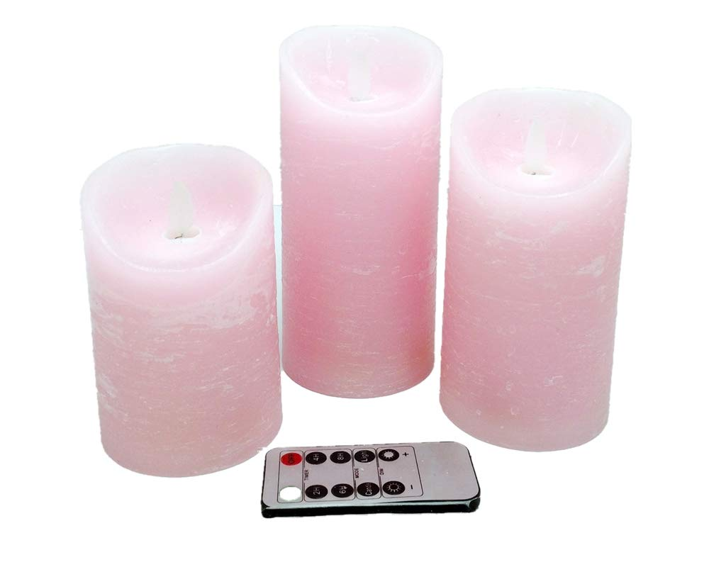 Adoria Pink Dancing Flame Led Candles-Real Wax Rustic Battery Operated Candles with Timer Set of 3-Rose Scented-dia3.15 by Tall 4,5,6inch