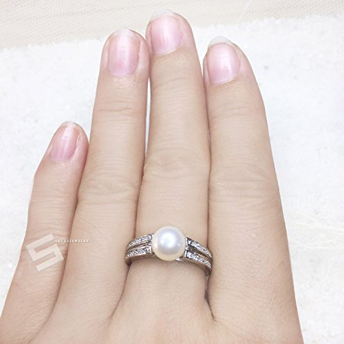 Genuine Akoya Pearl In Silver Ring, AAA Grade Japaness Akoya Pearl And 925 Silver Adjustable Band Ring, Promise Pearl Ring ()