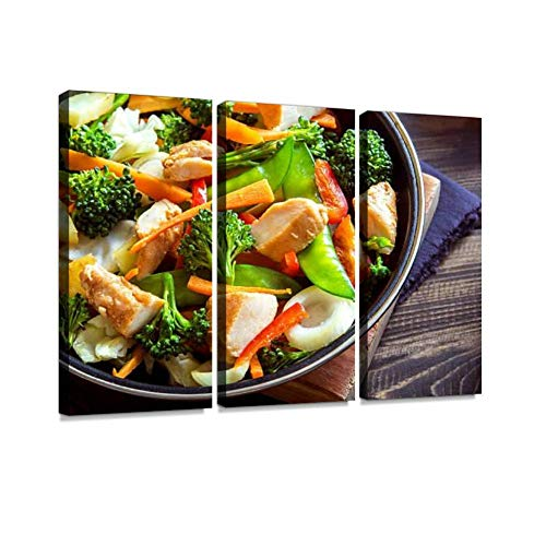stir Fry with Chicken Print On Canvas Wall Artwork Modern Photography Home Decor Unique Pattern Stretched and Framed 3 Piece