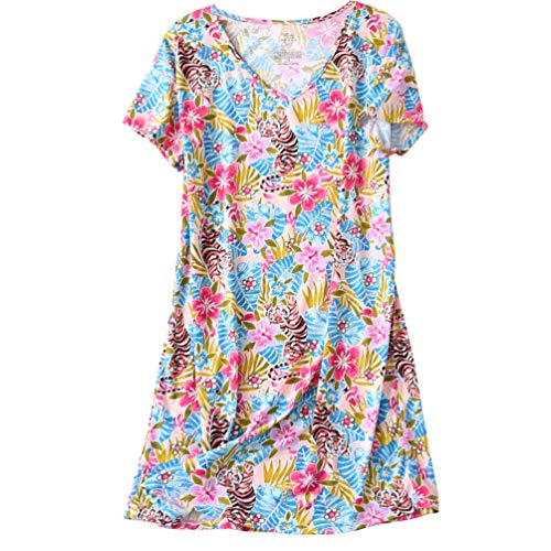 (ENJOYNIGHT Womens Cotton Sleepwear Short Sleeves Print Sleepshirt Sleep Tee (Tiger, XXL))
