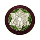 "Valery Madelyn 48"" Classic,Traditional Gold and Green Christmas Tree Skirt with Red Trim"
