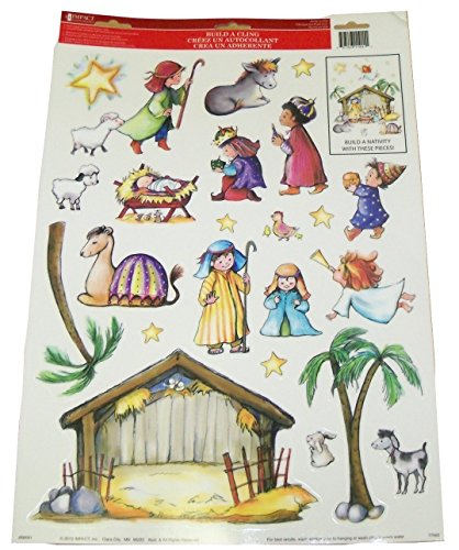 Window Scenes For Christmas - Christmas Reusable Window Clings ~ Build Your Own Nativity Scene (23 Clings, 1 Sheet)