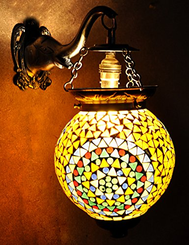 Lalhaveli Vintage Handmade Mosaic Glass Morrocan Wall Lamp For Room Decoration 13 X 9 - Tiffany Mosaic Furniture Outdoor