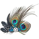 Tinksky Peacock Feather Decor Hair Clip Hair Pin Hair Accessories