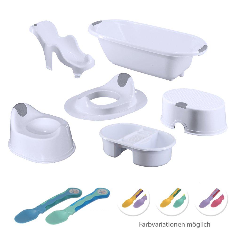 Vital Innovations 06051-77 Bad Hygiene-Set 7-Teilig - weiß-blau