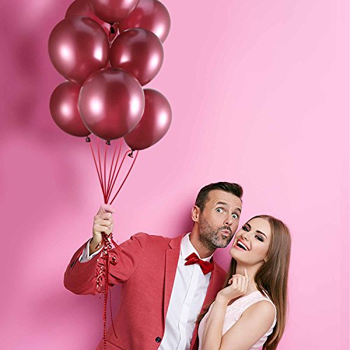 Hestya Burgundy Balloons 100 Pack 12 Inch Latex Party Balloons Burgundy Wine Red Balloons Solid Metallic Balloons Great for Weddings, Birthday Party, Bridal Shower, Party Decoration by Hestya (Image #1)