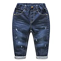 Abolai Baby Boys Denim Pants Ripped Holes Jeans Trousers Style2 Dark Blue 100