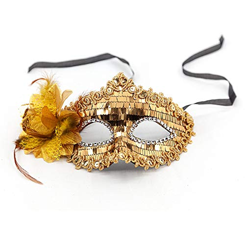 Masquerade mask for Women Lace Mask Shiny Glitter Party mask Venetian Masquerade Half face Mask (Golden)