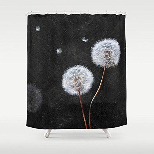 Shower Curtain with Dandelion Print | Custom Shower Curtain | Black & White | Extra Long Shower Curtain | Dandelion Bath - If You Cancel Order Amazon Refund