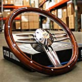 "14"" Inch Polished & Wood Steering Wheel Chevy Bowtie Horn, 6 Hole C10 Camaro"""