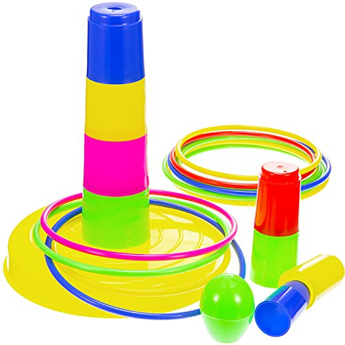 Frienda Ring Toss Game Colorful Plastic Detachable 8 Cone Set 12 Rings for Kids and Adults Fun Family Games Outdoor Toys by Frienda