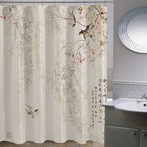 ZnzbztLotus bathroom shower curtain wall curtains curtain dressing curtain China wind classical paintings in India ink, wide 1.8 high 1.8