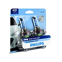 Philips H11 CrystalVision Ultra Upgraded Headlight Bulb, 2 Pack
