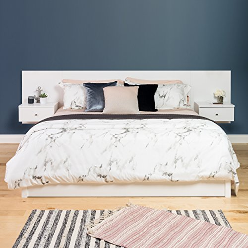 Prepac WHHK-0520-2K Series 9 Designer Floating Headboard with Nightstands, King, (Bedroom King Size Table)