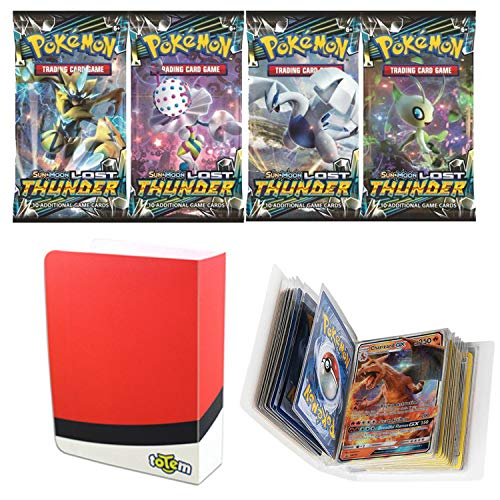 Totem World 1 Sun and Moon Lost Thunder Booster Pack with a Poke Ball Mini Binder Collectors Album for Pokemon Cards (Best Ball To Catch Lugia)