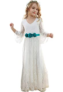 199570c3f3c Bow Dream Vintage Boho Lace Flower Girl Dress for Wedding Long Sleeves  Pageant First Communion 2T