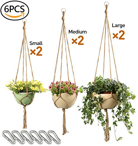 Hangers Pot Plant (Macrame Plant Hanger Set Hanging planter Handmade Jute Rope for Indoor Outdoor Flower Pots (Pot not Included),4legs 6 pcs of 3 different size-JamBer)