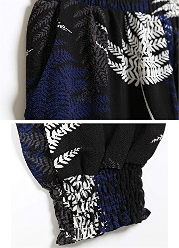 Fashion Colour Pantaloni Pantaloni Sciolto Estivi Vita Vintage Donna Style High 9 Waist Libero Tempo Ragazze Hippie Pluderhose Harem Pattern Elastica Stampato Festa Eleganti Pantaloni qStwxwdB