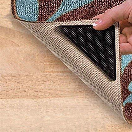 Simxen The Amazing Reusable Rug Grippers RUGGIES Carpet Mat Non Slip Grip Corners Magic Pad Anti Skid for Rug Washable Silicone Grip Mat 4pcs/Set