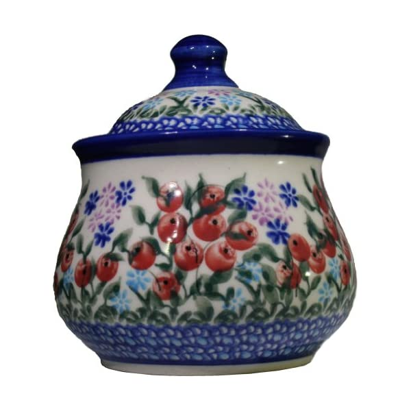 Polish Pottery Ceramika Boleslawiec 0051/282 1-Cup Iza Sugar Bowl, Royal Blue Patterns, Red Berries and Green Leaves Accented with Daisy Clusters