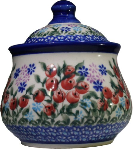 (Polish Pottery Ceramika Boleslawiec 0051/282 1-Cup Iza Sugar Bowl, Royal Blue Patterns, Red Berries and Green Leaves Accented with Daisy Clusters)