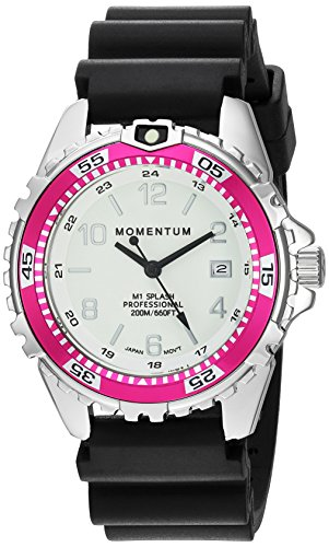 (Women's Quartz Watch | M1 Splash by Momentum| Stainless Steel Watches for Women | Dive Watch with Japanese Movement & Analog Display | Water Resistant ladies watch with Date -Lume  / Magenta Rubber)