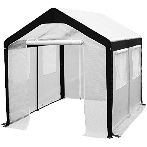 Abba Patio 8 x 10-Feet Large Walk in Fully Enclosed Lawn and Garden Greenhouse with Windows, White