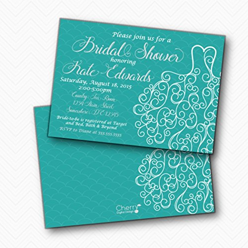 Wedding Dress Teal Gray Printed Bridal Shower Invitations | Envelopes Included