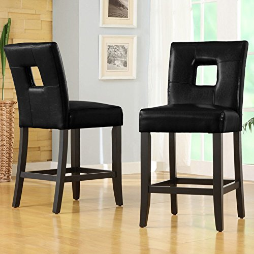 Home Creek Bradford Keyhole Faux-Leather Counter Chairs - Set of (Leather Keyhole)