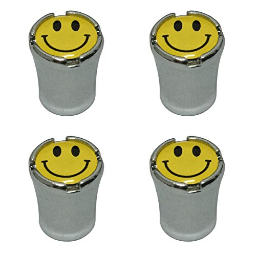 Cap Face Happy (Modern Design 4pcs Happy Face Smiley Emoji Logo Chrome Auto Car Wheel Tire Air Valve Caps Tire Decoration)
