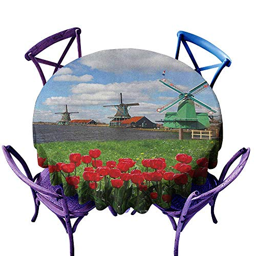 ONECUTE Round Solid Polyester Tablecloth,Windmill Traditional Dutch Windmills with Red Tulips in Amsterdam Scenic Field Riverscape,Party Decorations Table Cover Cloth,70 INCH Multicolor