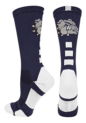 MadSportsStuff Bulldogs Logo Athletic Crew Socks (Navy/White, Small)
