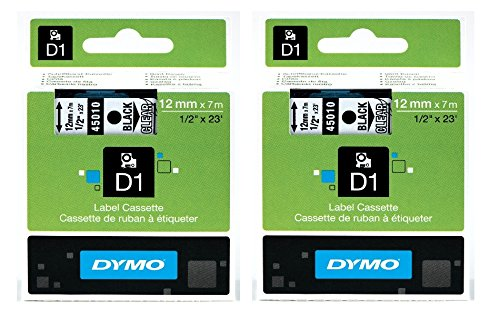 DYM45010 - Dymo Black on Clear D1 Label Tape, pack of 2 45010-DYMO_IT