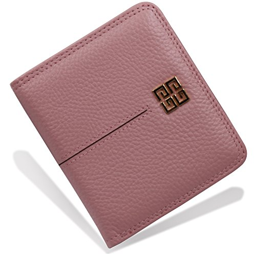 Women's Small Compact Bi-fold Leather Pocket Wallet Credit Card Holder Case with ID Card Window (New Pink) by ARRIZO (Image #7)