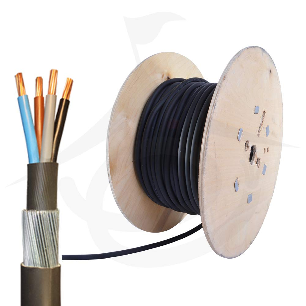50 metres 1.5mm 3 core SWA Steel Wire Armour Cable 6943X BASEC Approved