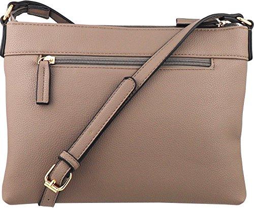 B BRENTANO Vegan Multi-Zipper Crossbody Handbag Purse with Tassel Accents (Nude 1) by B BRENTANO (Image #1)