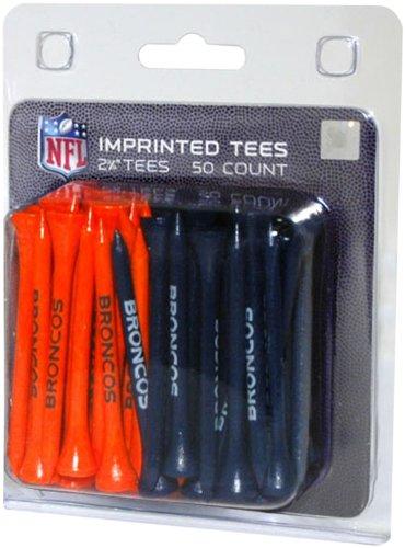 Team Golf NFL Denver Broncos 2-3/4 Golf Tees, 50 Pack, Regulation Size, Multi Team Colors