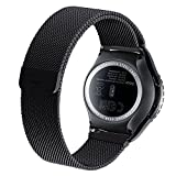 Cbin SM-R7320 Stainless Steel Fully Magnetic Closure Milanese Band for Samsung Galaxy Gear S2 Classic Smartwatch - Black