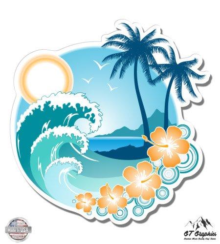 Tropical Ocean Beach Waves Palm Tree Vacation - 3