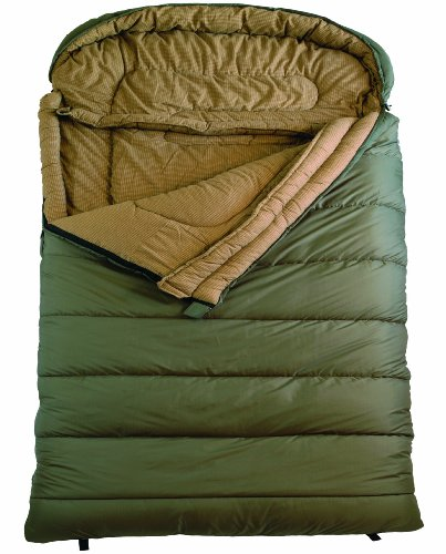 TETON Sports Mammoth Queen Size Flannel Lined Sleeping Bag (94x 62 Green 0 Degree F)