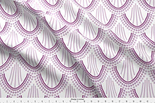 Spoonflower Purple Fabric - Scales Purple Scales Waves Scallops - by Ivieclothco Printed on Performance Piqué Fabric by The Yard