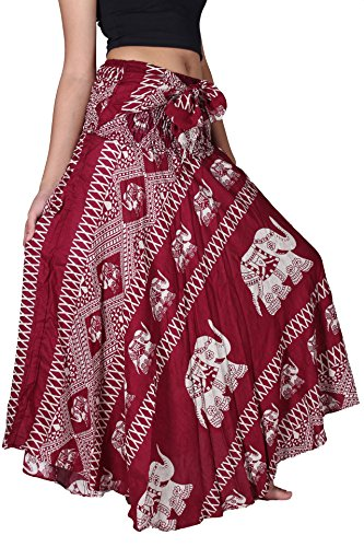 (Bangkokpants Women's Long Bohemian Hippie Skirt Boho Dresses Gypsy Clothes Elephant One Size (Red, One)