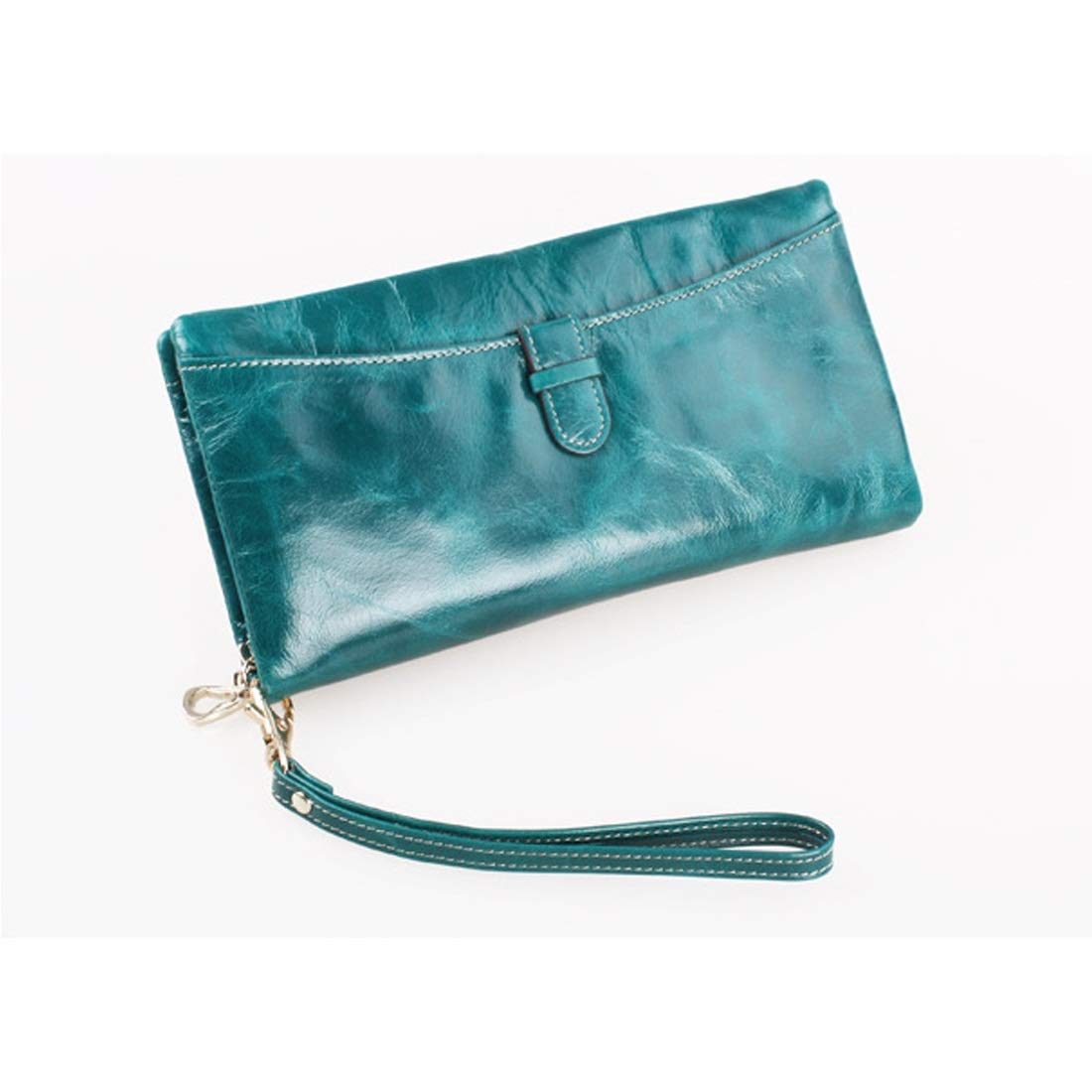 Professional Bag Long Wallet Women's Purse Cute Popular Large Capacity Zipper Leather Cowhide 5 color. Outdoor Travel Essentials (color   Green)
