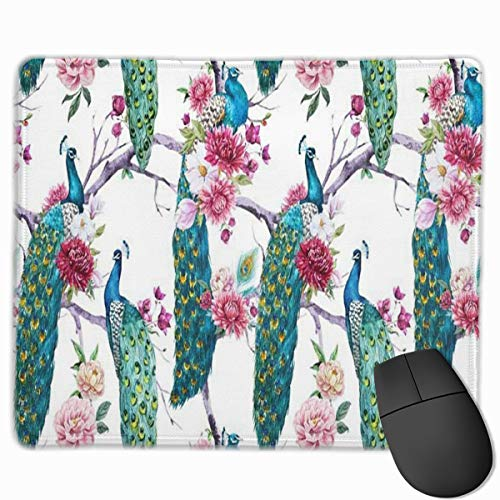 hed Edge Peacock Tree Pink Flower Mouse Mat, Non-Slip Rubber Base Mousepad for Laptop, Computer ()
